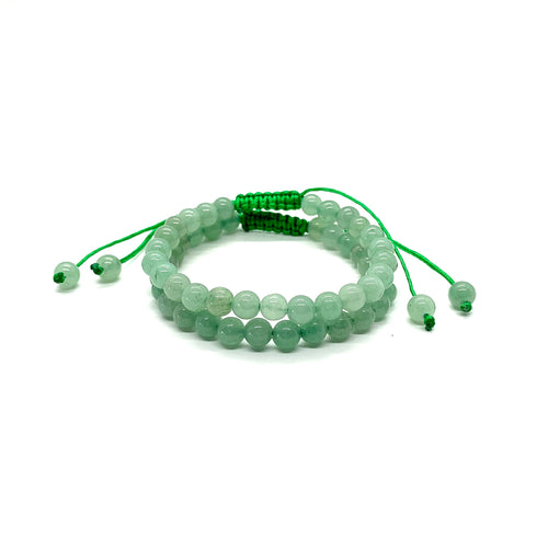 Aventurine is a green stone that brings forth prosperity, luck & abundance and is most associated with the heart chakra for love. It is also a stone that helps with fertility. Bracelet materials include 6mm aventurine stones on adjustable string that measures 6-9 inches to fit men, women & children. Two bracelets come in this set. One size fits most.