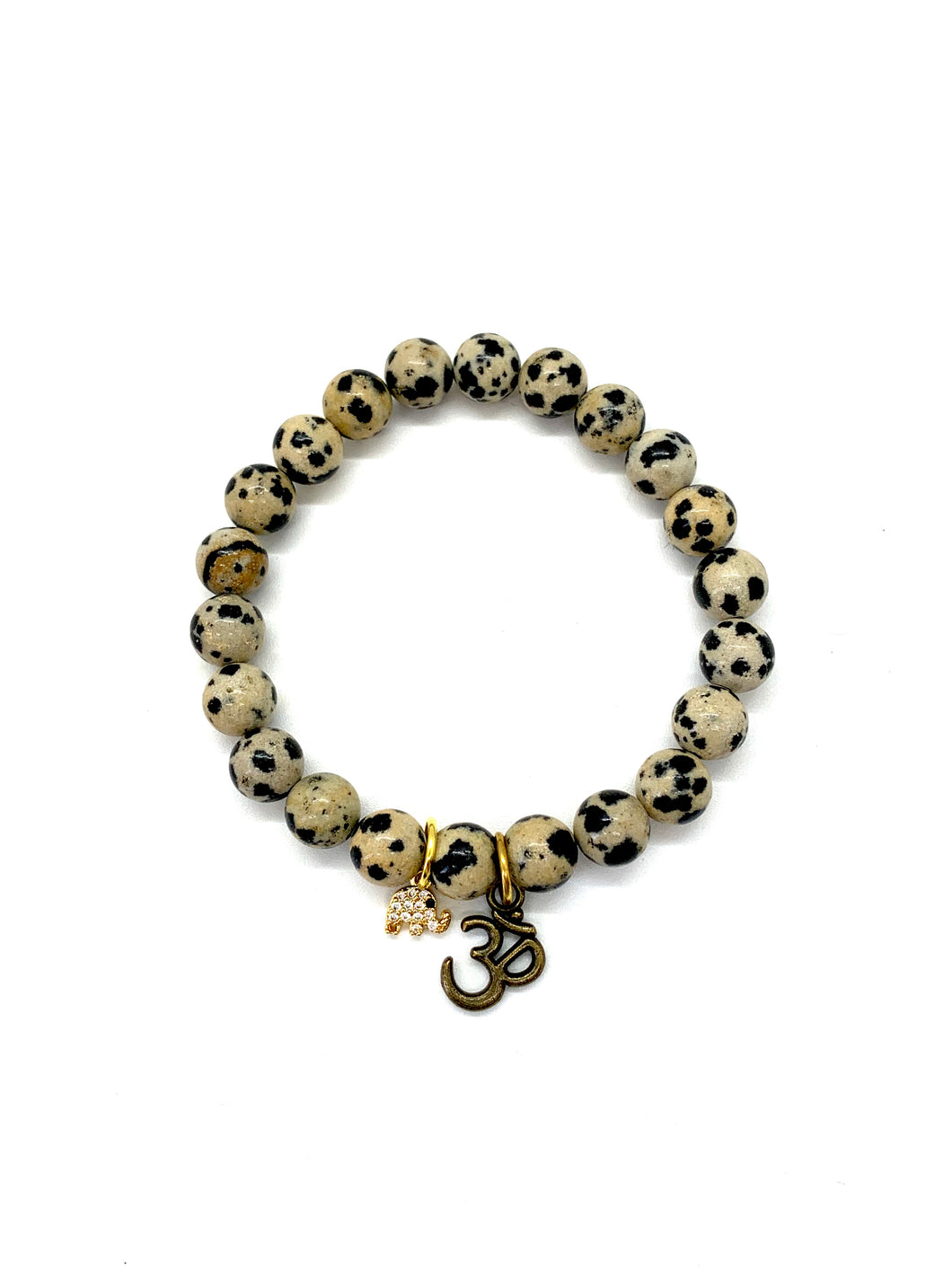Elephant & OM Charm Bracelet for Luck & High Vibration
