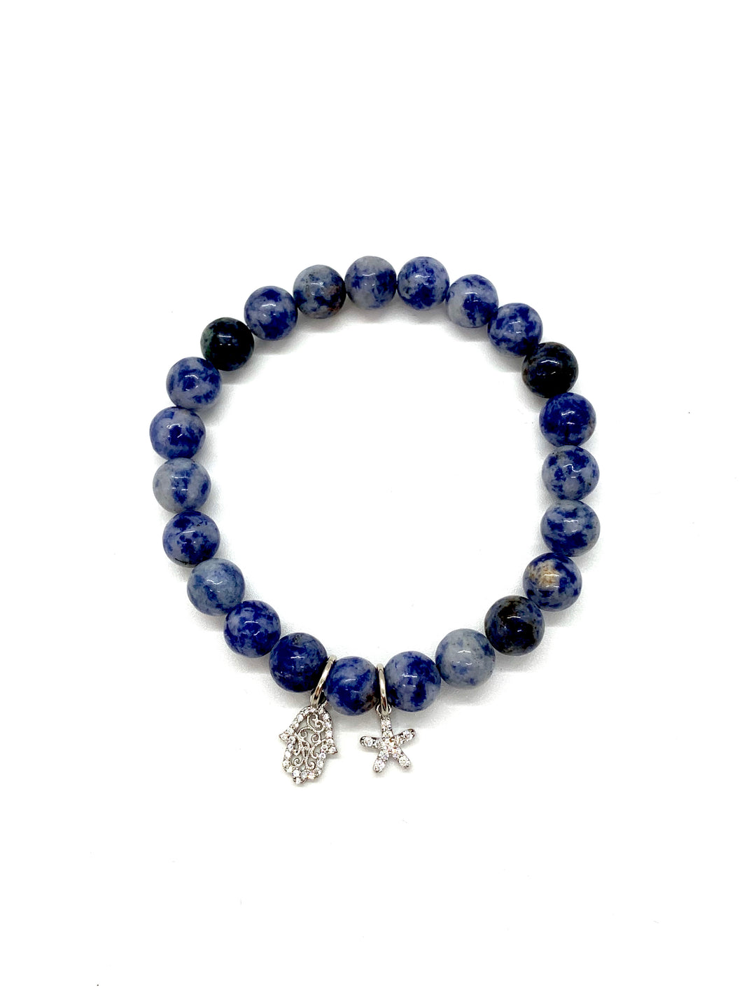 Hamsa & Starfish Charm Bracelet for Protection, Happiness, Luck, Health, Good Fortune & Resiliency