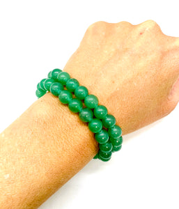 Aventurine is a green stone that brings forth prosperity, luck & abundance and is most associated with the heart chakra for love. It is also a stone that helps with fertility.  Bracelet materials include 8mm aventurine stones on an elastic cord. Two bracelets included in this set. Custom sizing is available by Contacting Us.