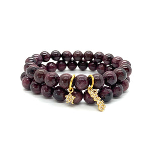 Garnet Charm Bracelet Set for Passion, Love, & Encouragement