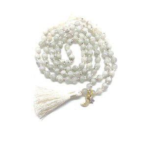 "The ""Wish Upon a Star"" Moonstone Tassel Mala for Intuition, Empowerment, Divine Feminine Energy, & Encouragement"