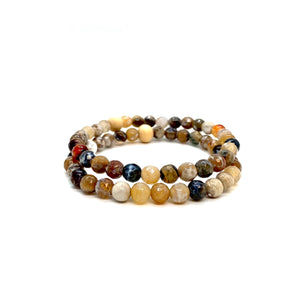 Natural Agate Bracelet Set for Bravery