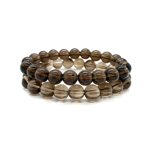 Smoky Quartz Bracelet Set for Stress Relief, Deep Healing, & Energy Cleansing