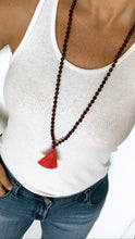 Load image into Gallery viewer, Garnet charm Tassel Mala for Passion, Love, & Resiliency
