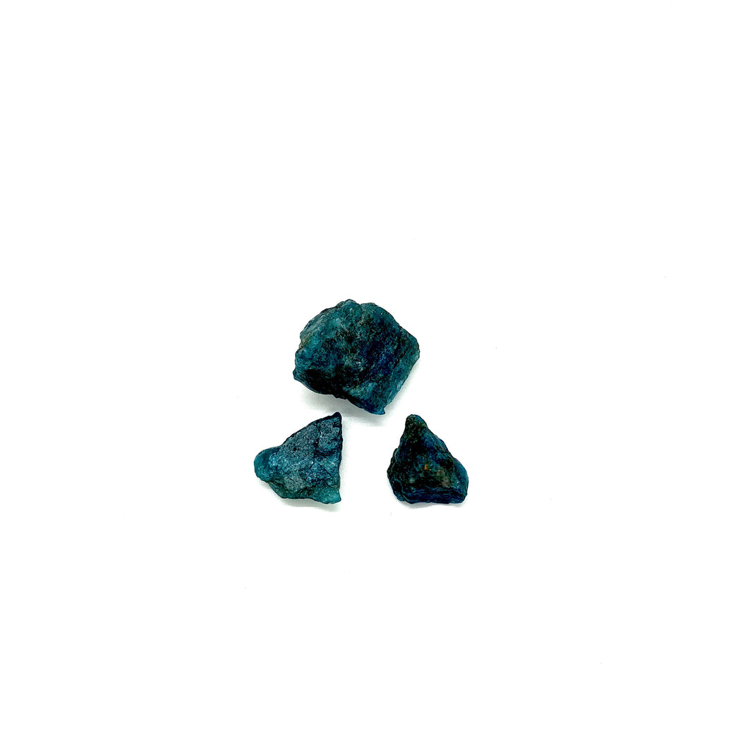Apatite is a teal blue stone to take hold of when you need some extra willpower, such as making healthy choices, detoxing, or keeping with resolutions. It is also most associated with the throat chakra, which helps with communication & expression. Three stones come in this trio that each measure approximately a half inch to 1 inch.