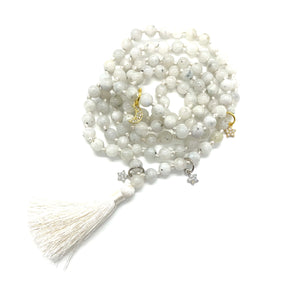 Moonstone Tassel Mala w/ Moon and Star Charms for Intuition, Empowerment, Divine Feminine Energy, & Encouragement