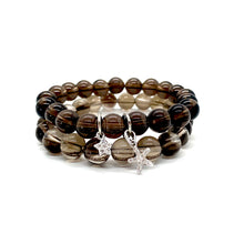 Load image into Gallery viewer, Smoky Quartz Charm Bracelet Set for Stress Relief, Deep Healing, & Energy Cleansing