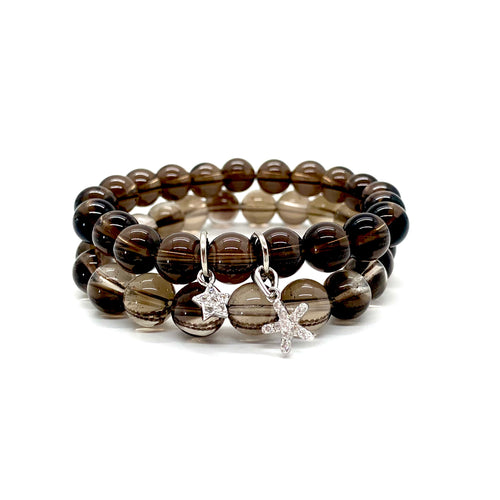 Smoky Quartz Charm Bracelet Set for Stress Relief, Deep Healing, & Energy Cleansing