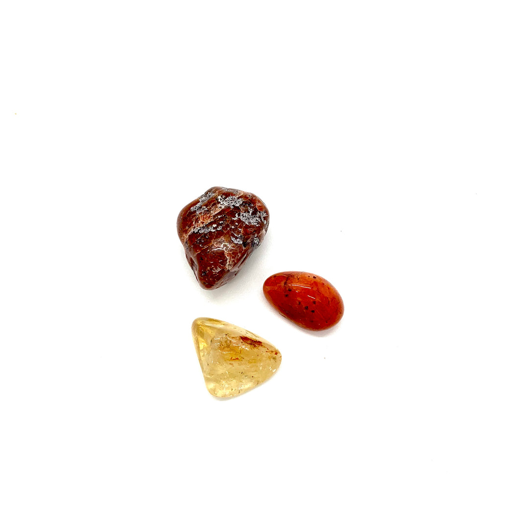 If you are feeling unstable or insecure in any aspect of your life, this lower chakra trio will help you root to rise. Included in this trio is a red agate stone, a carnelian stone, and a citrine stone-all of which carry high vibrational energy on their own, but get supercharged when combined.   The agate stone measures approximately 1 inch, the carnelian approximately 1/2 an inch, and the citrine stone approximately 3/4 of an inch.