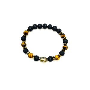 Buddha, Lava & Tiger's Eye Bracelet for Zen