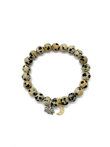 Lotus & Moon Charm Bracelet for Growth & Action