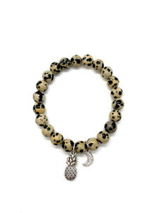 Pineapple & Moon Charm Bracelet for Prosperity & Action