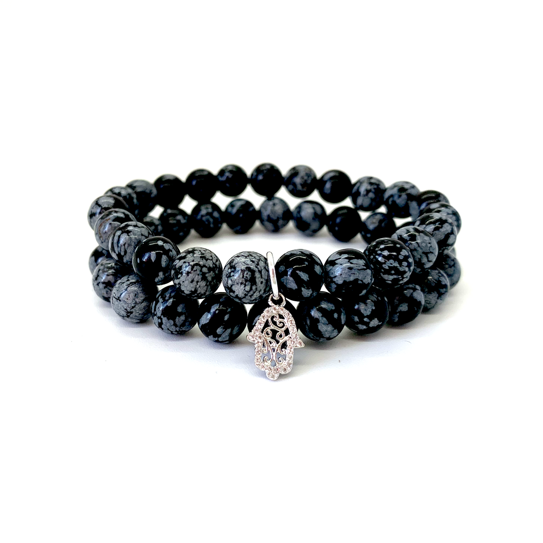 Hamsa & Moon Charm Bracelet Set for Protection, Happiness, Luck, Health, Good Fortune, & Action