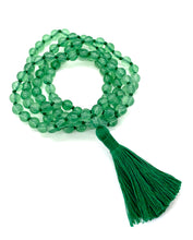 Load image into Gallery viewer, 108 Aventurine Stones on a green string with a green tassel.