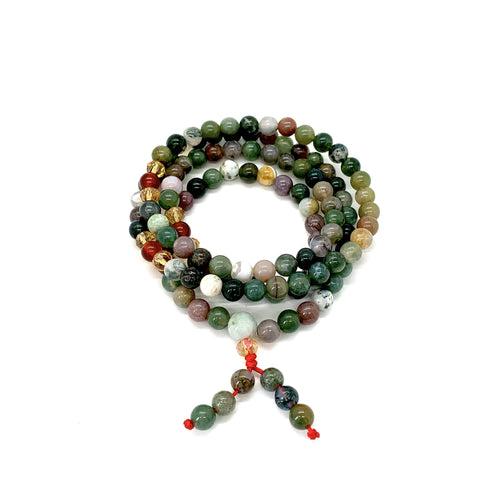 Materials include 108, 6mm jade stones that are strung on an elastic (stretch) cord for comfort & durability