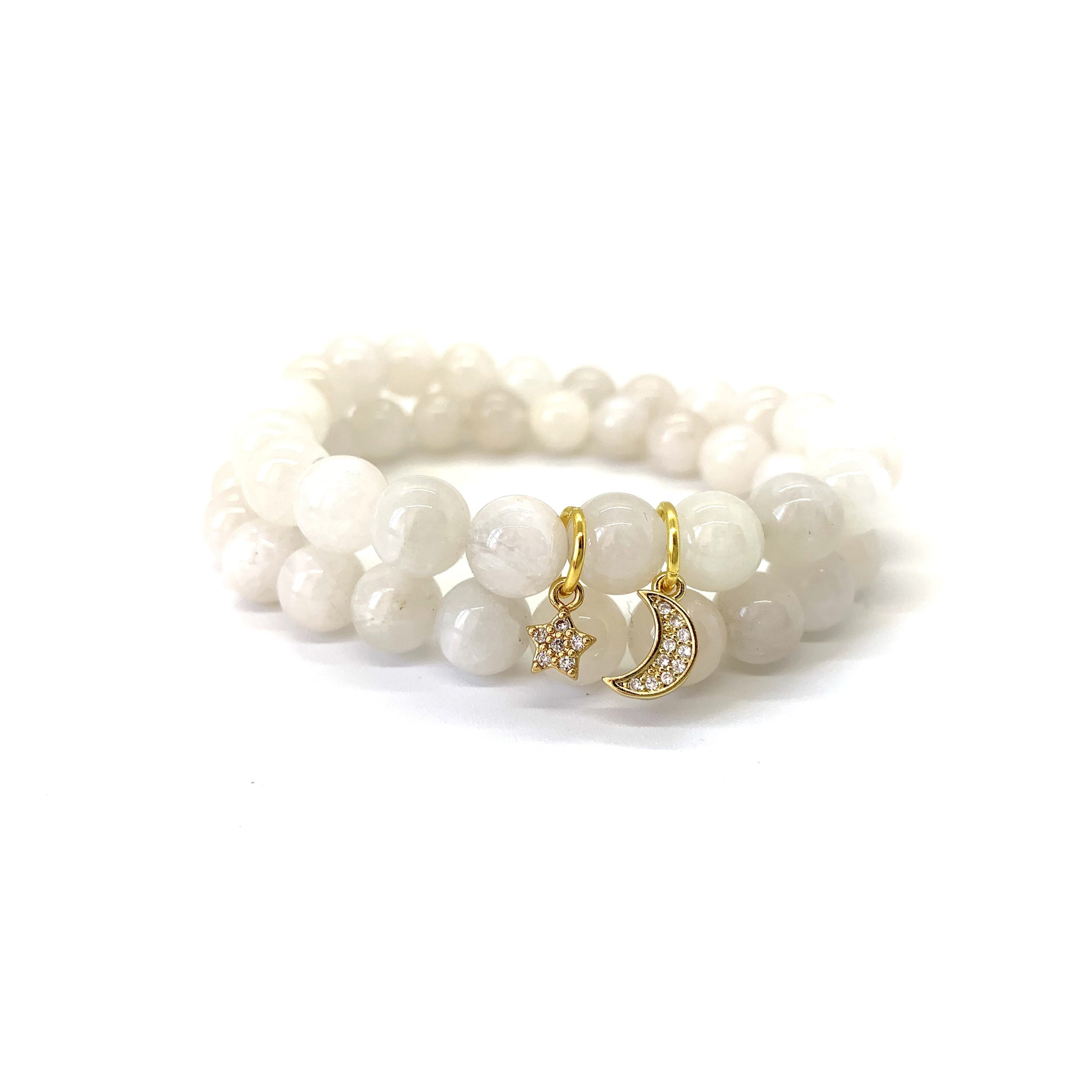 Moon(stone) & Star Charm Bracelet Set for Encouragement