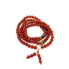 Load image into Gallery viewer, Materials include 108, 6mm red agate stones & tiger's eye spacer beads that are strung on an elastic (stretch) cord for comfort & durability