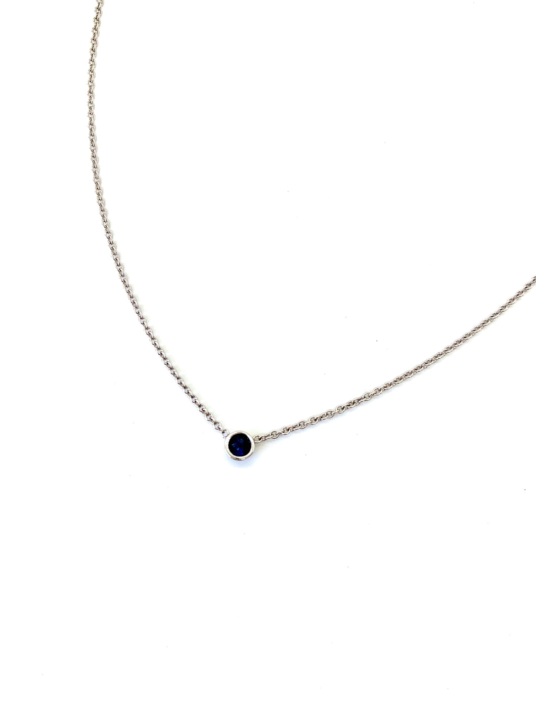 Connect to throat chakra energy for expression & communication with our sapphire necklace. Materials include a 16-inch 14k white gold chain with a 3mm blue sapphire gemstone. These necklaces are custom designed and hand assembled in the US. Custom variations are available by Contacting Us.