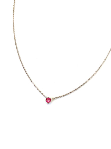 Materials include a 16-inch 14k white gold chain w/ a 3mm pink tourmaline gemstone