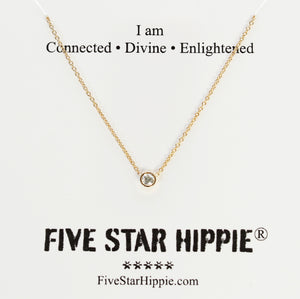 Connect to crown chakra energy for higher consciousness with our diamond energy necklace. Materials include a 16-inch 14k yellow gold chain with a 3mm brilliant diamond.  These necklaces are custom designed and hand assembled in the US. Custom variations are available by Contacting Us.