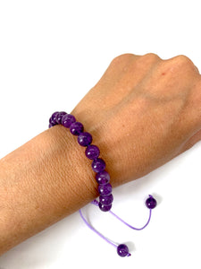 Amethyst Adjustable Macrame Bracelet