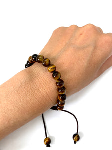 Tiger's Eye Adjustable Macrame Bracelet