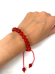 Red Agate Adjustable Macrame Bracelet