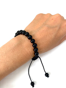 Onyx Adjustable Macrame Bracelet