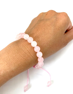 Rose Quartz Adjustable Macrame Bracelet