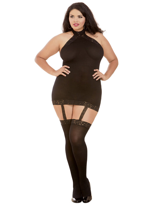 CSO All-In-One Sheer Dress and Stockings Set Black