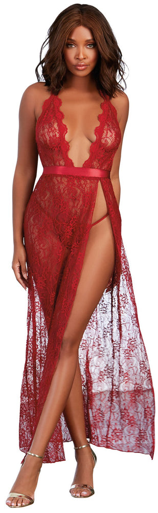 Long Lace Gown Garnet