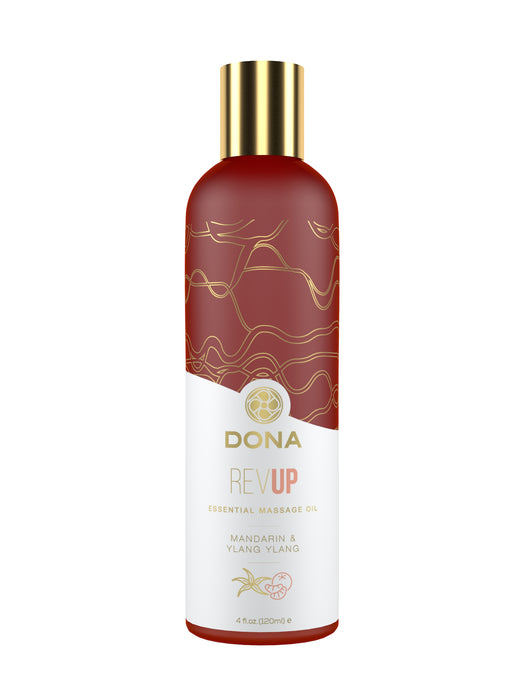 DONA Essential Massage Oil - Rev Up - Mandarin & Ylang Ylang - Massage 4 floz / 120 ml (T)