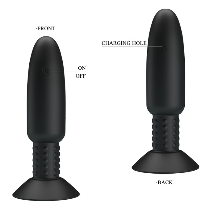 Remote Beaded Vibrating Butt Plug Black (146mm)