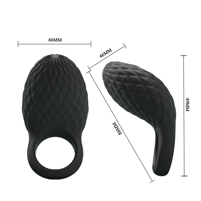 "Vibrating Cock Ring ""Heloise"" Black 86mm x 46mm"