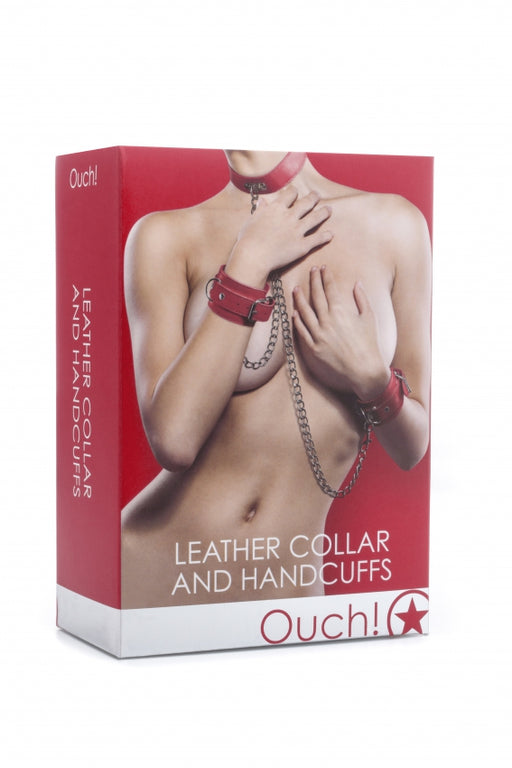 Leather Collar and Handcuffs - Red