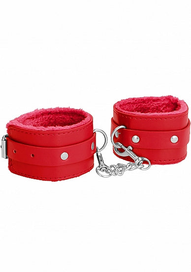 Ouch! Plush Leather Hand Cuffs - Red