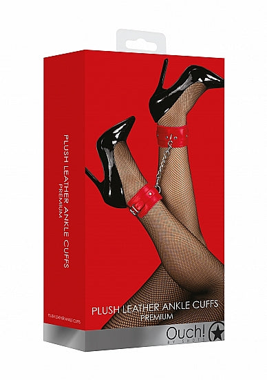 Ouch! Plush Leather Ankle Cuffs - Red