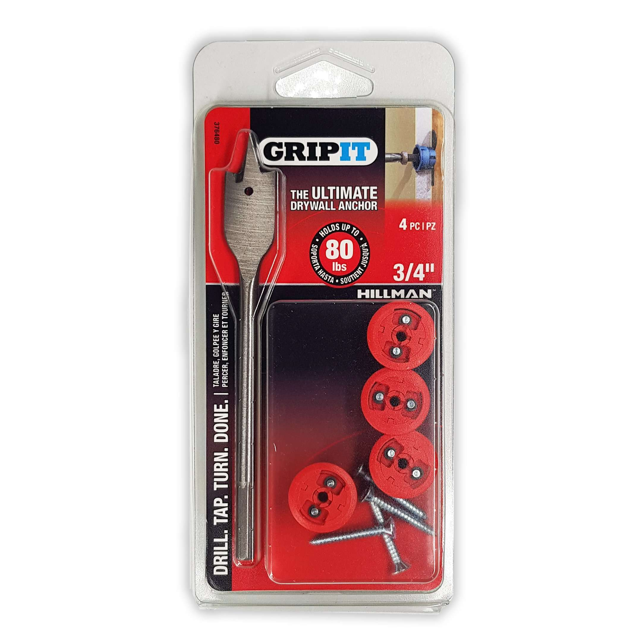 4-Count GripIt Drywall Red 3/4
