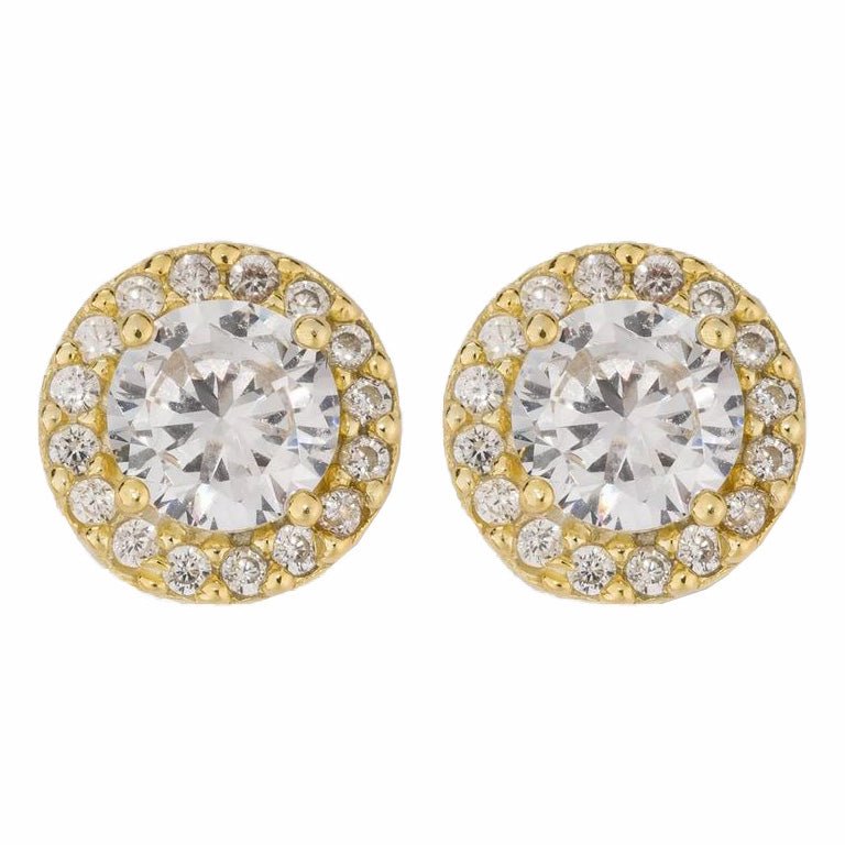 Gold Over Sterling Silver Halo Cubic Zirconia Stud Fine Earrings