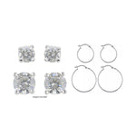 4-Sets Sterling Silver Earrings Hoops & Small Studs