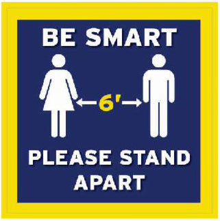 Be Smart Social Distancing Decal