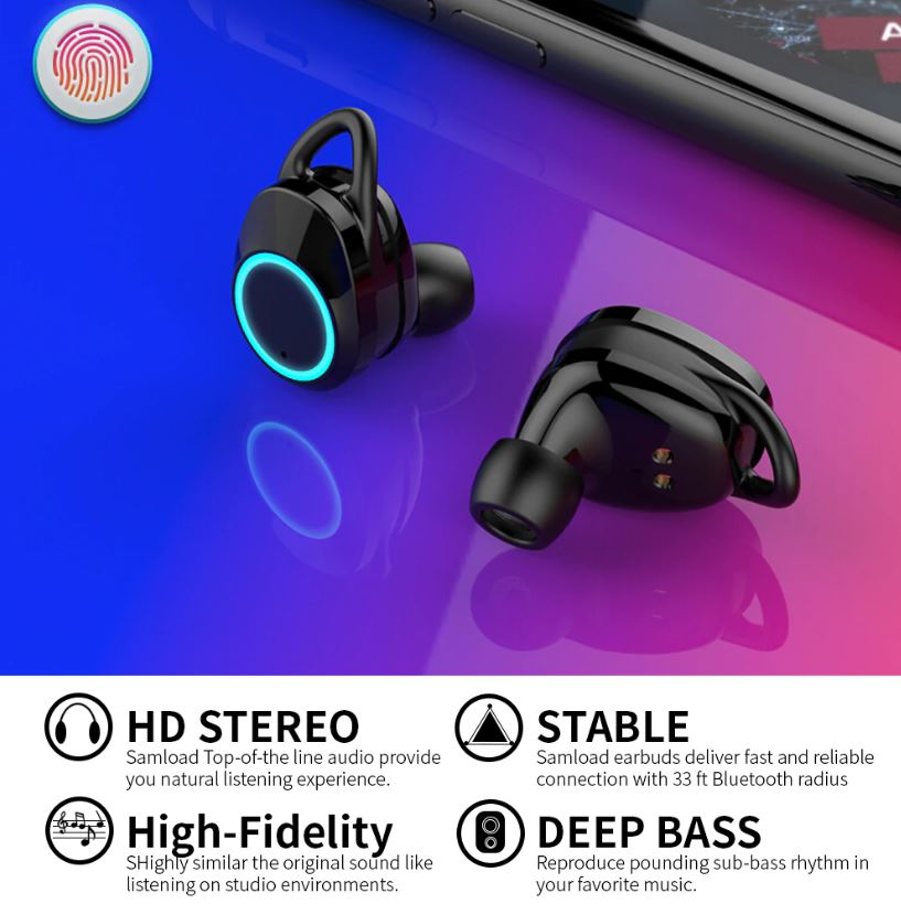 timeless design 763c0 6daba Bluetooth 5.0 Wireless Earphone Deep bass Earbuds Waterproof Headphone with  Charging Box For Apple iPhone 6 7 8 X Sony and Android Smart Phones