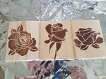 Rose Coasters - Wood Coasters Engraved Personalized Coasters Wedding Coasters Customized Gift Birthday Love Flowers Rose Valentines Girl