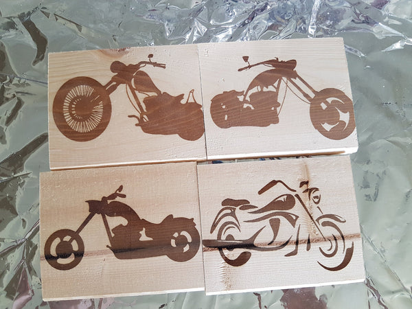Bike Coasters - Wood Coasters Engraved Personalized Coasters Wedding Coasters Customized Coasters Gift Birthday Harley Dirt Cool
