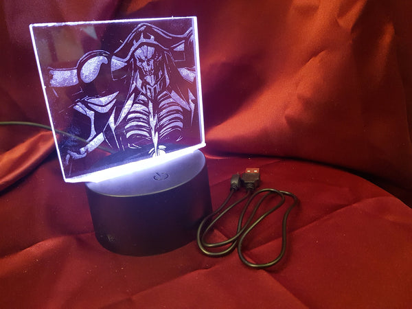 Overlord (Ainz) LED Light Up Display - Acrylic Sign\Lamp - Laser Engraved - USB - Desk Lamp - Multi Colored - Room Decor - Night Light