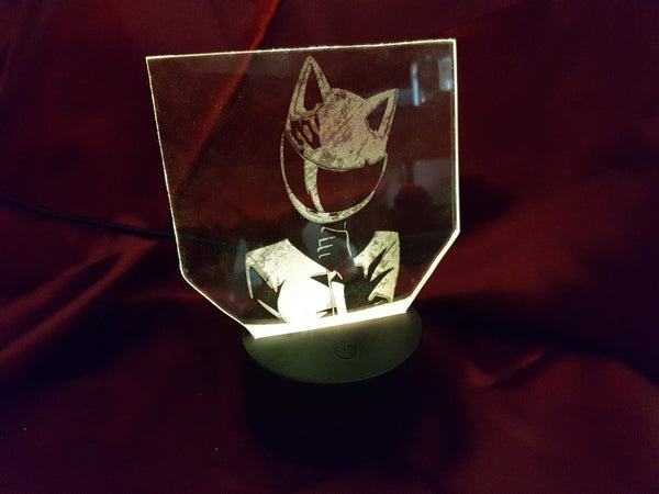Durarara (Celty) LED Light Up Display - Acrylic Sign\Lamp - Laser Engraved USB - Desk Lamp - Multi Colored - Room Decor - Night Light
