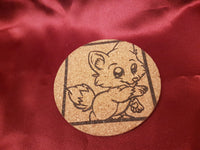 Cute Animal Cork Coasters - Bat - Fox - Penguin - Bird - Gift for Her\Him - Birthday\Holiday - Natural