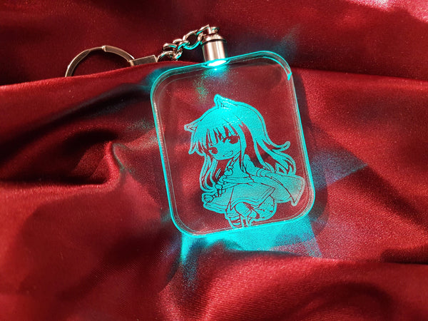 Spice and Wolf Holo Key Chain - Acrylic Sign\Lamp - Chibi - Laser Engraved - Color Change - Multi Colored - Lawrence - Key Ring