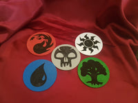 Magic Mana Coasters - MTG - Card Game - Red - Blue - White - Black - Red - Counter Spell - Never Play Mono Red